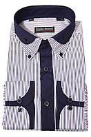 """Рубашка мужская """"Franko Manutti"""". Синяя полоска. Длинный рукав"""
