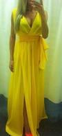 Шифоновое платье в пол на запах с поясом