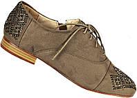 Туфли женские. Коричневые. Эко-замша. На низком каблуке.