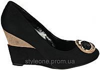 Туфли женские на танкетке. Черные. Эко-замша