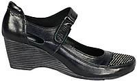 Туфли женские кожаные. Черные со стразами. Танкетка. Турция