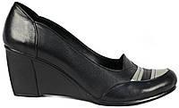Женские кожаные туфли. Черные. Натуральная кожа. Танкетка. Турция