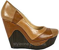Туфли женские на платформе. Коричневые. Эко-кожа