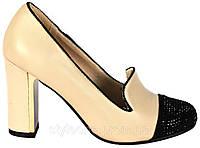 Туфли женские. Бежевые. Со стразами. Эко-кожа