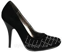 Туфли женские. Черные. Замшевые. На шпильке. Со стразами