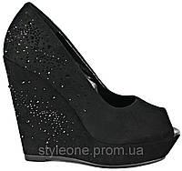 Женские летние туфли. На платформе. С открытым носком. Замшевые. Со стразами. Черные