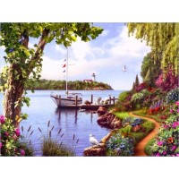 Картина раскраска по номерам на холсте 40*50см Menglei Идейка MG024 Яхта у причала