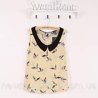 Шифоновая легкая блузка с птичками