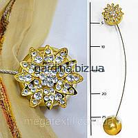 Подхваты для штор на магнитах цветок со стразами золото (4 5см)