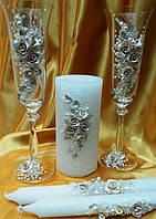 """Свадебные бокалы и свечи """"Ветка розы"""" бежевые."""
