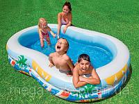 Надувной семейный бассейн Лагуна с широкими бортиками интекс Intex 262x160x46см (Intex 56490)