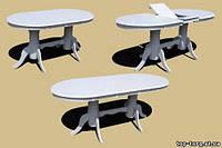 Стол раскадной 3602-3 белый, овальный. Доставка