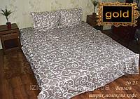 Вензеля штрих молоко на кофе - Двуспальное постельное белье бязь gold