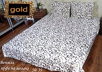 Вензеля кофе на молоке - Двуспальное постельное белье бязь gold