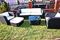 Комплект садовой мебели из ротанга (2 кресла, кофейный столик, пуф, угловая часть)