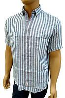 Синяя льняная рубашка в голубую полосу