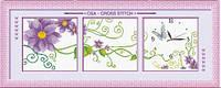 """Набор для вышивки крестиком с часами """"Фиолетовые цветы"""""""