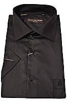 """Рубашка мужская """"Salvatore Russo"""". Черная. Однотонная. Короткий рукав"""