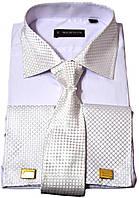 """Рубашка мужская. Белая с голубым оттенком. """"Emerson""""+ галстук. Длинный рукав"""