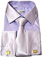 """Рубашка мужская.""""Ferrero Gizzi"""" + галстук. Сиреневая. Длинный рукав"""