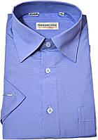 """Рубашка мужская.""""Ferrero Gizzi"""" Синяя клетка. Короткий рукав"""