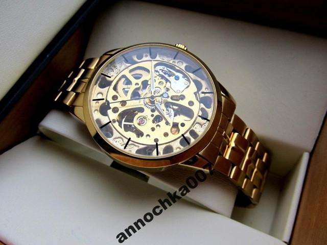 Оригинал! Мужские механические часы Winner Gold Автоподводом (Мужские часы Winner Gold механика, корпус-сталь) - фото 3