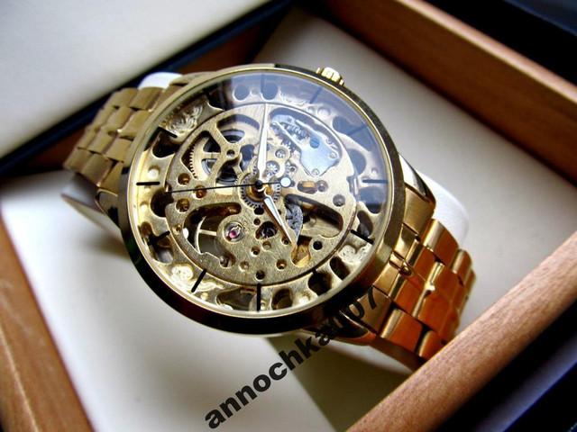 Оригинал! Мужские механические часы Winner Gold Автоподводом (Мужские часы Winner Gold механика, корпус-сталь) - фото 1