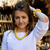 Набор украшений для вышиванки бусы, браслет, сережки. Цвет желтый