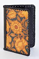 """Обложка для паспорта из серии """"Подсолнухи"""", натуральная кожа, ручная оплетка, авторский дизайн"""