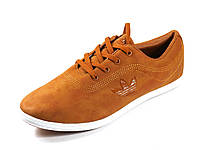 Кеды коричневые мужские кожа шнурок Adidas, фото 1
