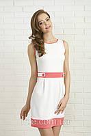 Летнее мини платье без рукава, цвет - белый с коралловым. Модель 336 Mirabelle