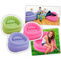 Надувное кресло с мягким покрытием и подушкой  интекс Intex 91х102х65см, 3 цвета