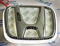 Автомобильный логотип Honda 9.8*8.0 см. с хромированной накладкой, белый