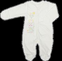 Человечек для новорожденного р. 62 ткань МУЛЬТИРИПП 100% тонкий хлопок в дырочку ТМ Виктория 3140 Белый