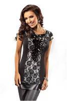 Блузка, туника, кофточка женская нарядная черная, серая с коротким рукавом Enny