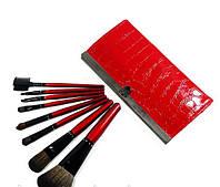 Кисти для макияжа в кошельке 8 шт красные