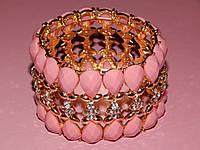 """Браслет """"Королевский 2"""" на резинке, розовые и белые камни под эмаль, металл под золото 300381"""