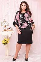 Платье женское, нарядное больших размеров, черное+цветы