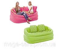 Надувной двухместный диван с мягким покрытием и 2умя подушками 107х104х69см интекс Intex