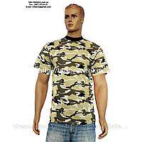 Футболка мужская К-01041, камуфляж - лес, военная, кулир, хлопок, Bifabric