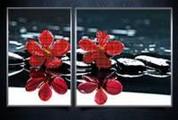 """Схема-диптих для вышивки бисером на атласе (цветы) """"Красные орхидеи"""""""