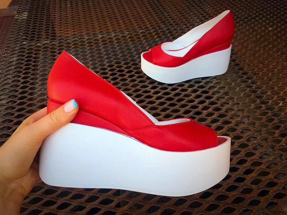 Туфли красные на платформе купить в интернет магазине