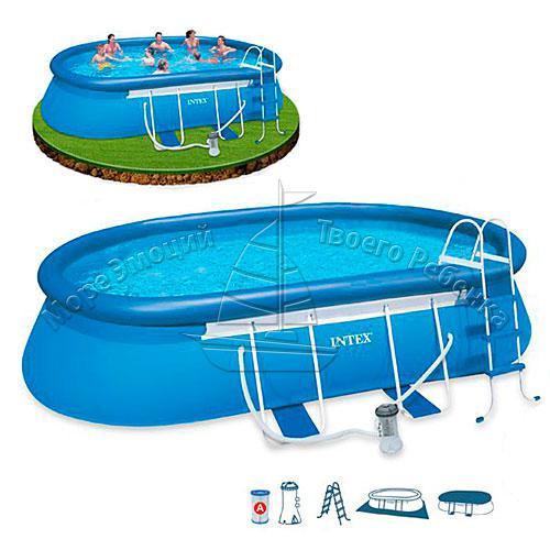 28194 Надувной бассейн Intex Oval Frame Pool 610х366х122см 35251