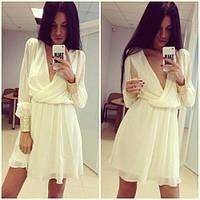 Короткое нежное шифоновое платье с манжетами  украшенными пайетками! в наличии, строчная доставка!