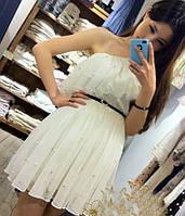 Коктейльное платье молочного цвета, из шифона с жемчугом