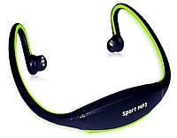 Беспроводной плеер-наушники mp3 sport + fm-радио, аккумулятор, поддержка microsd на 8гб, usb, 10 часов музыки
