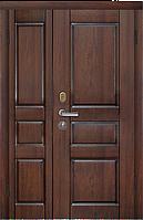 Входные двухстворчатые двери Вена (вишня темная) производства Двери Белоруссии