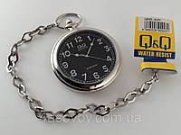 Часы карманные Q@Q  стильные на металлической цепочке, черный циферблат