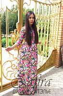 Джинсовое платье в пол с цветочным принтом