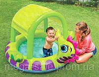 """Надувной детский бассейн с навесом, крышей  """"Морской конек"""" интекс Intex 188х147х104 см"""